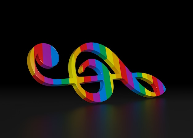 Clave de sol do arco-íris. renderização 3d.
