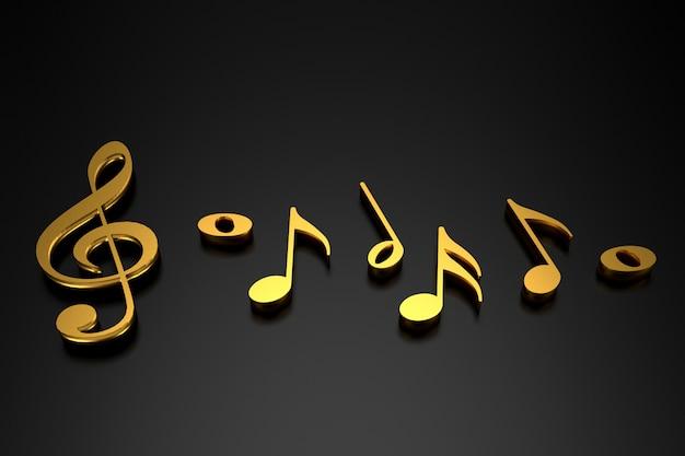 Clave de sol e notação musical. renderização em 3d.