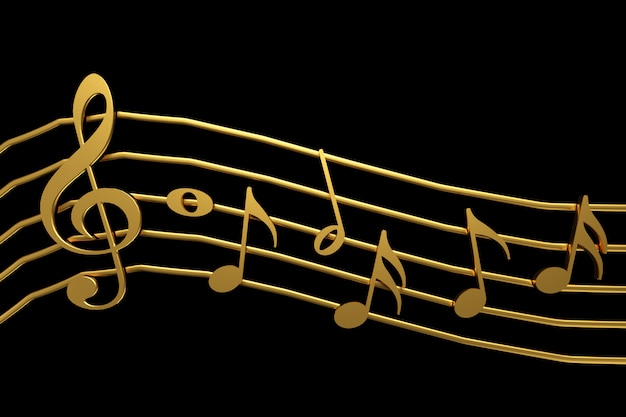 Clave de sol e rendição douradas da notação de música 3d.