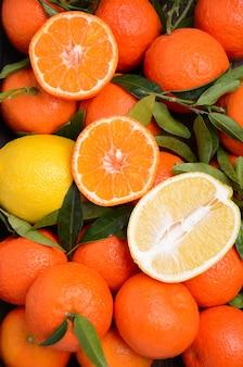 Clementina e tangerina fresca com folhas vista superior plano leigos