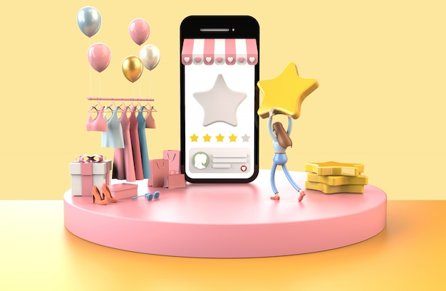 Cliente feliz em dar satisfação de feedback de cinco estrelas para a loja favorita, compras on-line no celular
