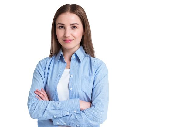Cliente satisfeito de entrega on-line com os braços cruzados