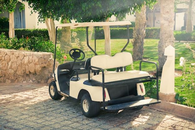 Clientes em espera de carrinhos ou carrinhos de golfe no hotel closeup extrema
