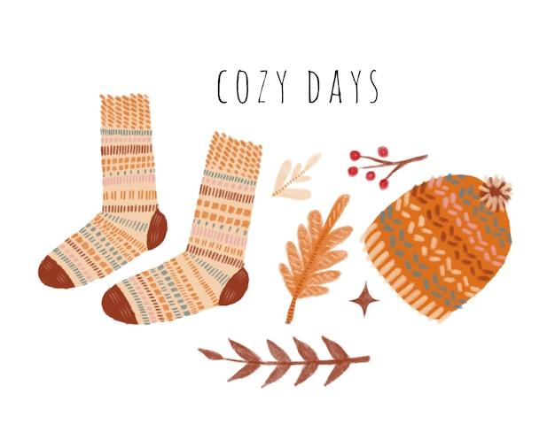 Clima de outono ilustração em aquarela de dias aconchegantes, meias de tricô folhas de carvalho boné galho de bolotas
