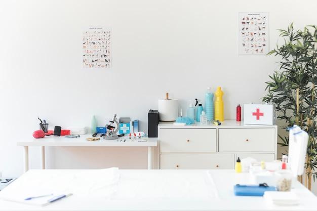 Clínica veterinária com equipamentos médicos
