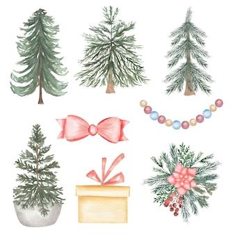 Clipart da árvore de natal em aquarela, presente de ano novo, festa infantil, bolas, árvore de natal, floresta, convites para chá de bebê, presentes