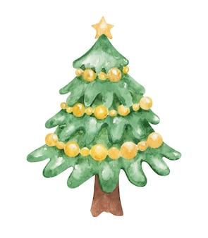 Clipart de decoração de natal em aquarela, ilustração de estoque de árvore de abeto decorada, elementos de ano novo