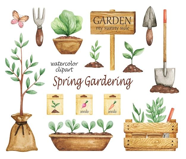 Clipart de gardering de primavera, conjunto de ferramentas de jardim, elementos de jardim, jardim aquarela, sementes, vasos de plantas