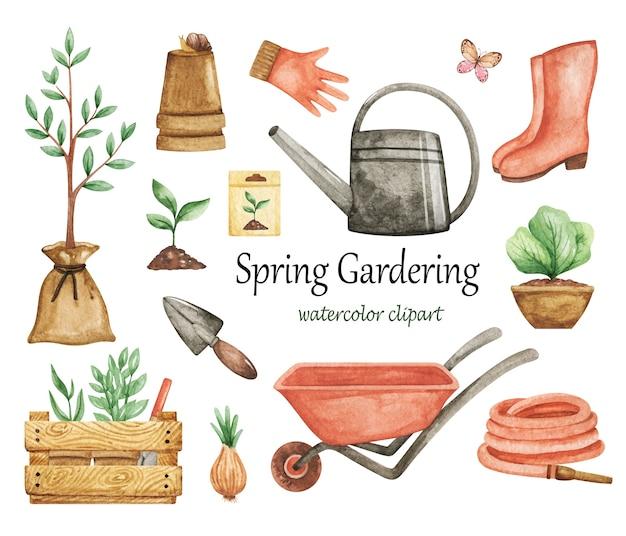 Clipart de gardering de primavera, ferramentas de jardim, elementos, conjunto aquarela de jardim, luvas, regador