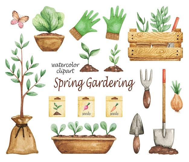 Clipart de jardinagem da primavera, conjunto de ferramentas de jardim, elementos de jardim, clipart de aquarela jardim, sementes, plantas em vasos, pá, mudas
