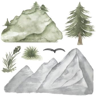 Clipart de montanhas, clipart de aquarela de árvore de floresta, paisagens, ilustração de woodland pine trees, convite de casamento, criação de cartão, chá de bebê