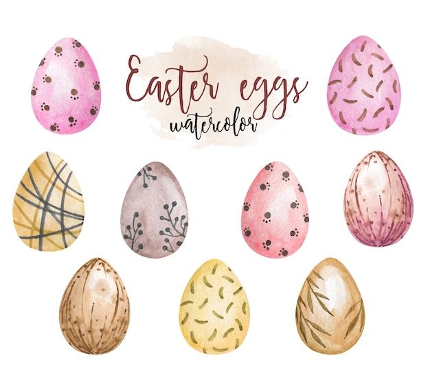 Clipart de ovos de páscoa em aquarela, ovos coloridos isolados, clipart de ovos pintados, decoração de páscoa
