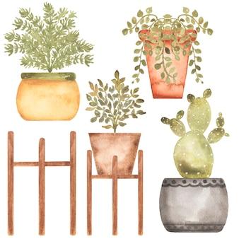 Clipart de plantas de casa, ilustração de jardim doméstico desenhado à mão em aquarela, conjunto de clipart de flores em vasos, flores em vasos, criação de cartão, design de logotipo, álbum de recortes