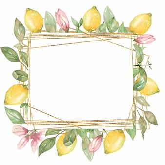 Clipart de quadro de limão em aquarela. moldura de coração geométrico dourado, coroa de flores de verão, clipart de hortaliças, convites de casamento, confecção de cartões, design de logotipo