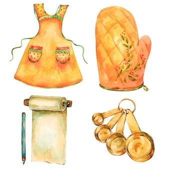Clipart de utensílios de cozinha vintage em aquarela.