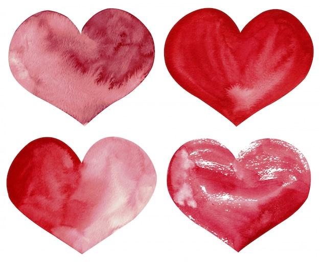 Clipart desenhado à mão da aquarela dos corações vermelhos e cor-de-rosa isolados no fundo branco.