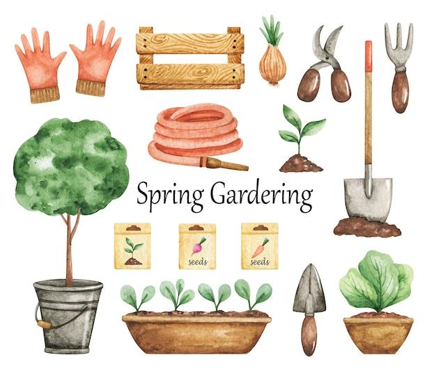 Clipart spring gardering, conjunto de ferramentas de jardim, elementos de aquarela jardim, plantas em vasos, mangueira, luvas