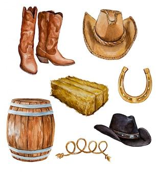 Clipart temático do celeiro. botas de cowboy, chapéu de cowboy, palha.