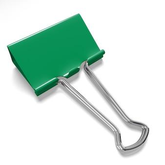 Clipe de pasta verde em um branco
