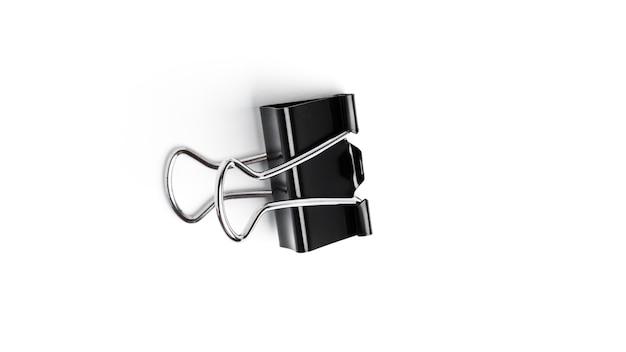 Clipes de fichário de metal preto sobre fundo branco. foto de alta qualidade