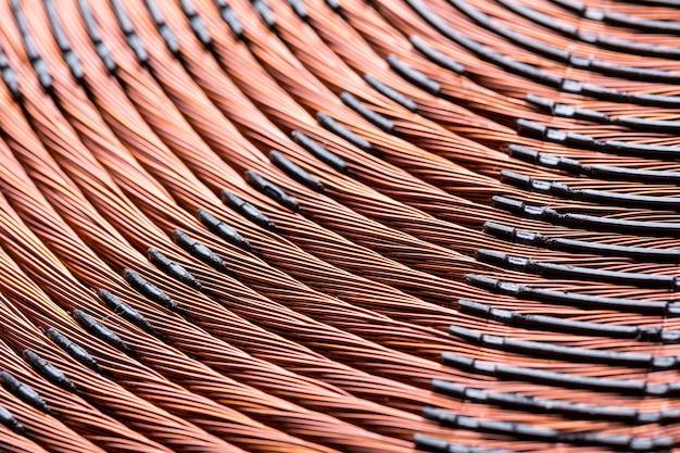 Close da bobina de cobre do aquecedor de indução