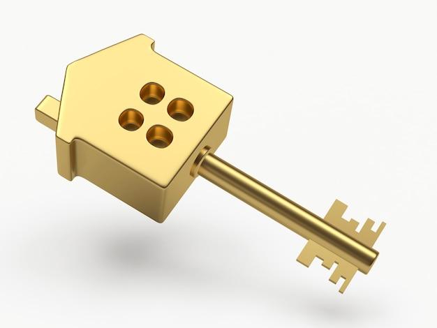 Close da chave-casa dourada