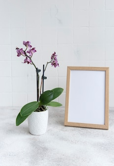 Close da orquídea phalaenopsis roxa no vaso e simulação do quadro do pôster na mesa