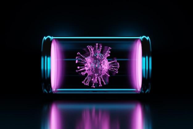 Close da renderização em 3d do vírus covid2019