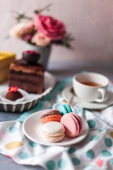 Close da vista superior de uma variedade de pedaços de bolo e macarons no prato branco sobre a mesa cinza