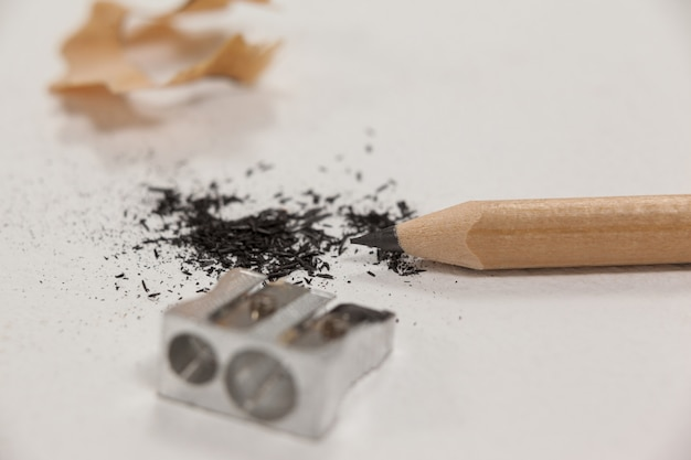 Close de apontador e lápis
