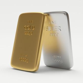 Close de barras planas de ouro e prata