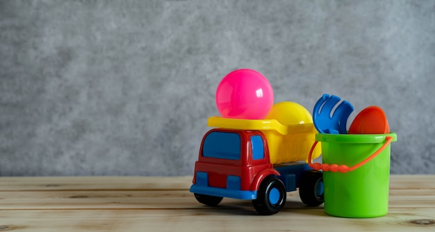 Close de brinquedos infantis coloridos