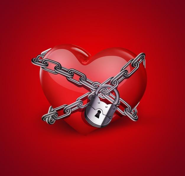 Close de coração vermelho em correntes em fundo vermelho