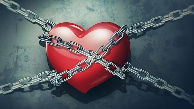 Close de coração vermelho em correntes em um fundo de parede velha e suja