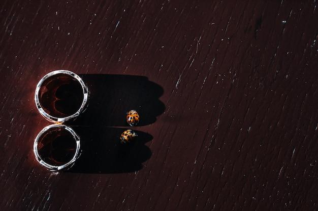 Close de duas alianças de ouro e dois besouros