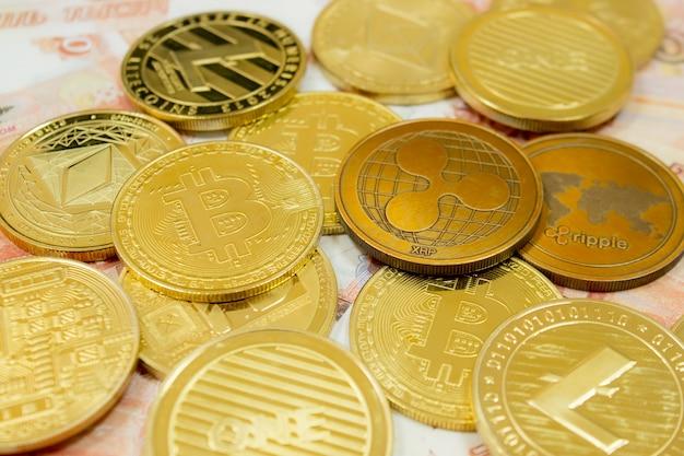 Close de ethereum, litecoin, ripple e pilha de bitcoin