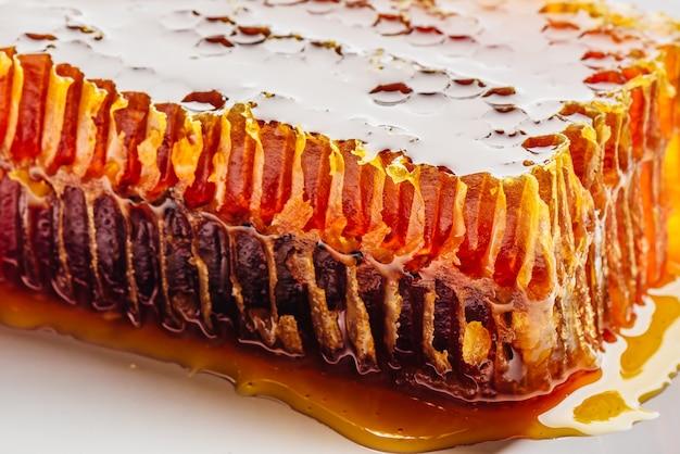 Close de favo de mel doce em fundo claro