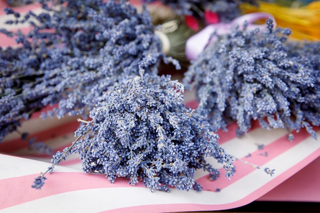 Close de flores de lavanda