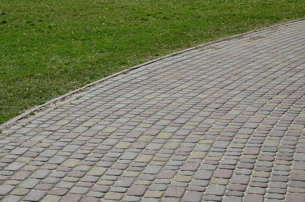 Close de foto de fundo de uma grande plataforma de pedra de pavimentação em perspectiva