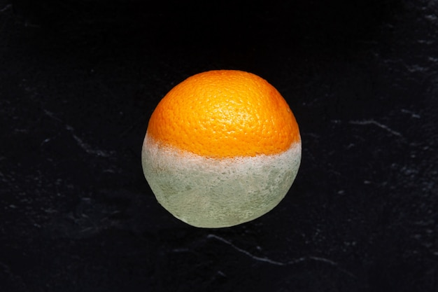 Close de fruta laranja podre e mofada armazenamento incorreto de vegetais e frutas
