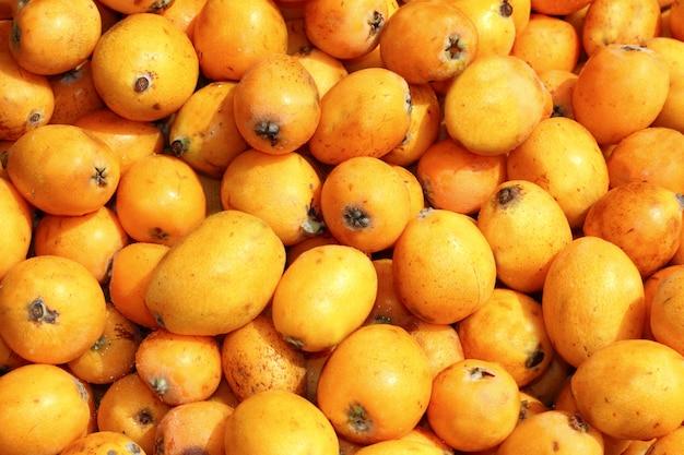 Close de frutas de nêspera