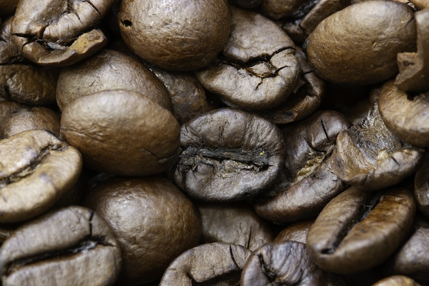Close de grãos de café torrados sob as luzes com bordas desfocadas