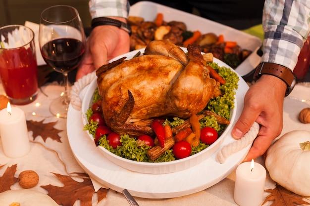 Close de mãos segurando um prato de peru