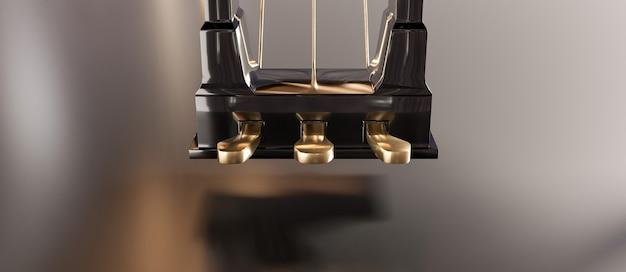 Close de pedais dourados de piano de cauda