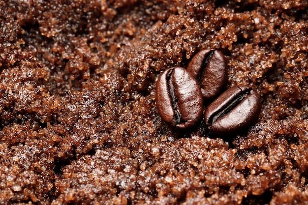 Close de textura de café e chocolate esfoliante de spa