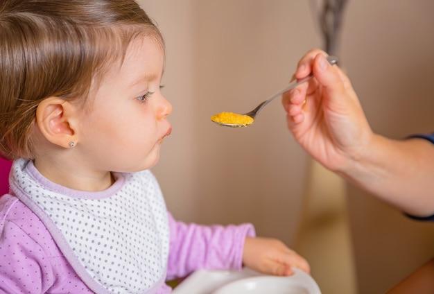 Close de um bebê adorável e feliz sentado em uma cadeira de alimentação, comendo purê com uma colher nas mãos de sua mãe em casa