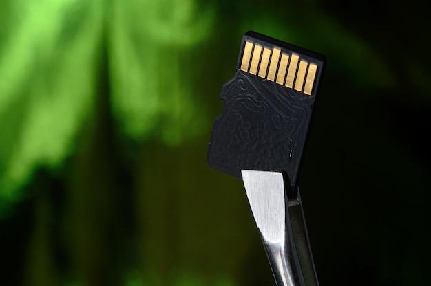 Close de um cartão de memória micro sd em um fundo verde irregular, preso com uma pinça.