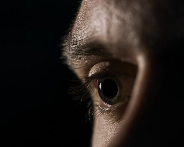 Close de um olho humano verde com pupilas dilatadas em um fundo preto