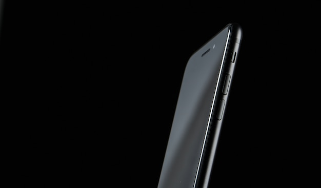 Close de um telefone em um fundo escuro