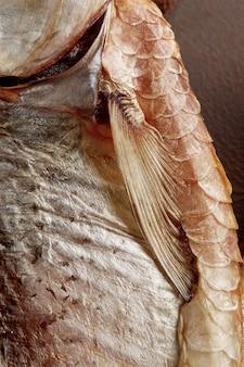 Close de uma barata seca ao ar com escamas cutâneas prateadas na barbatana peitoral e fenda branquial